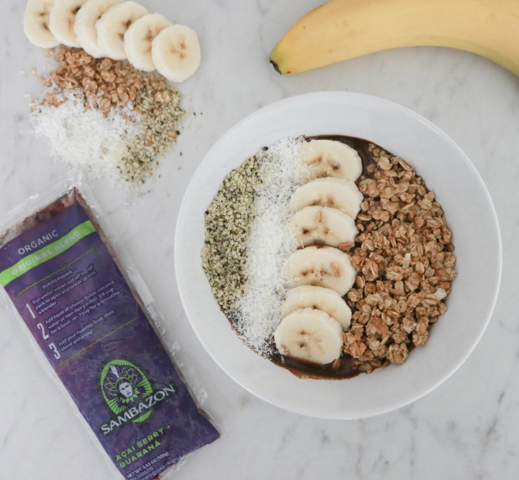 Peace, Love And Yoga shares the ultimate açai bowl.  The perfect after hot yoga snack.