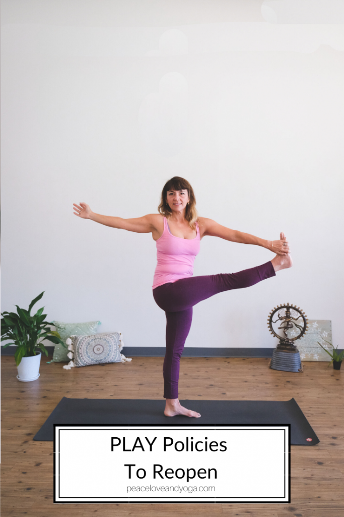 PLAY policies to reopen featured by Peace Love And Yoga, a hot studio in Carlsbad California.