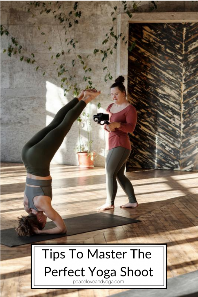 Peace Love And Yoga, a hot yoga studio in Carlsbad California shares 5 tips to master the perfect yoga shoot; woman filming a yoga teacher.